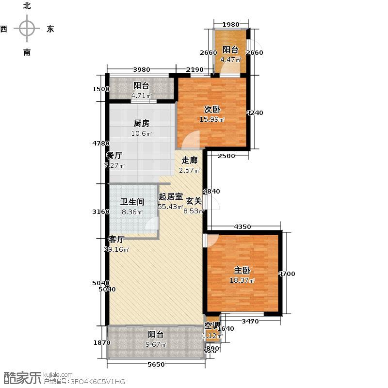 悦山国际76.68㎡两市一厅一卫76.68平方米户型