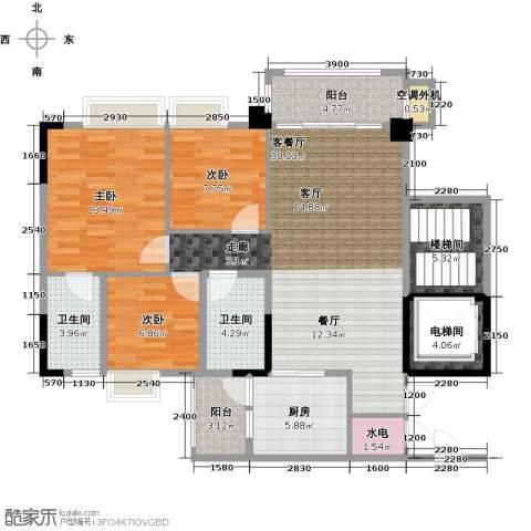 肇庆碧桂园3室1厅2卫1厨96.00㎡户型图