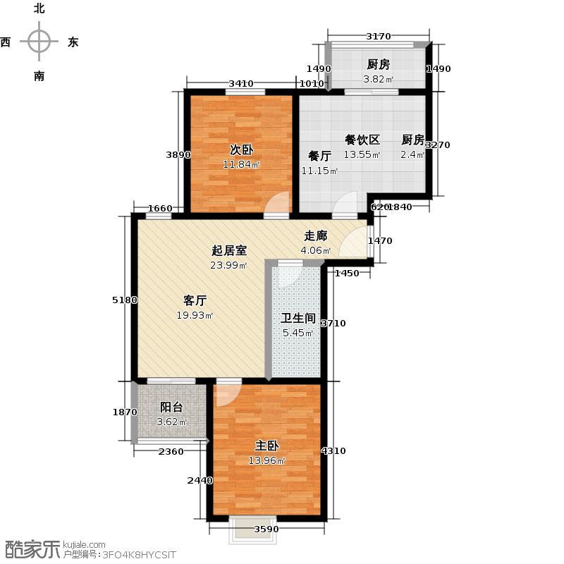 观林园102.63㎡H单元两室一厅一卫户型