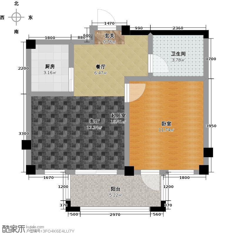 远洋假日养生庄园55.00㎡A-2洋房 一室一厅一卫户型1室1厅1卫