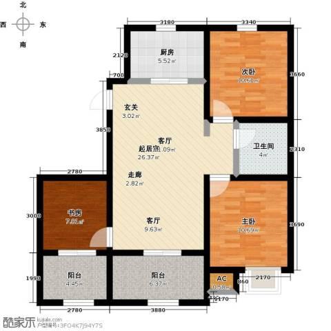 天力城3室0厅1卫1厨88.20㎡户型图