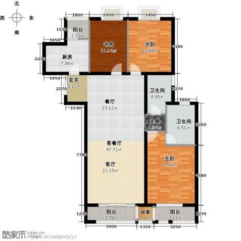 新华联丽景・珊瑚湾3室1厅2卫1厨167.00㎡户型图