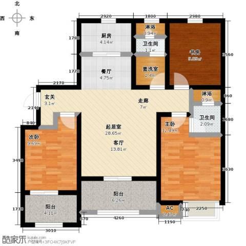 天力城3室0厅2卫1厨98.33㎡户型图