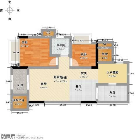 鸥鹏中央公园2室0厅1卫1厨72.00㎡户型图