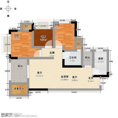 鸥鹏中央公园3室0厅1卫1厨79.00㎡户型图