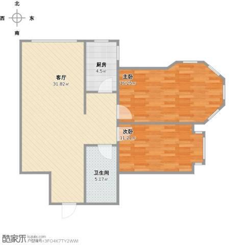 松浦观江国际2室1厅1卫1厨92.00㎡户型图
