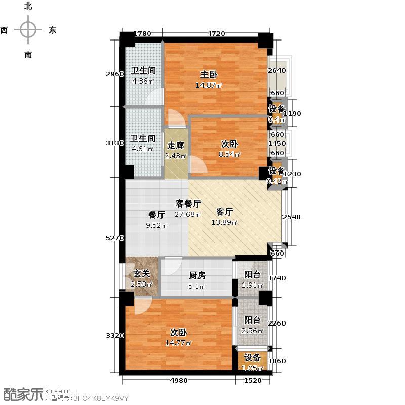 龙泽国际公馆122.64㎡C户型3室2厅2卫户型
