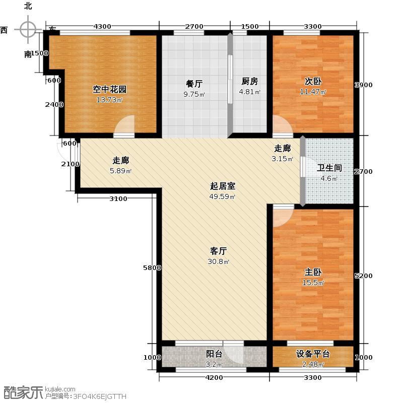 保利西海岸117.90㎡B4户型 2室2厅户型2室2厅1卫