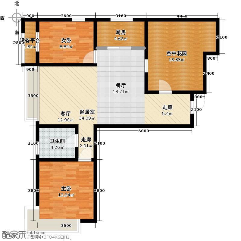 保利西海岸98.00㎡D1户型 2室2厅户型2室2厅1卫