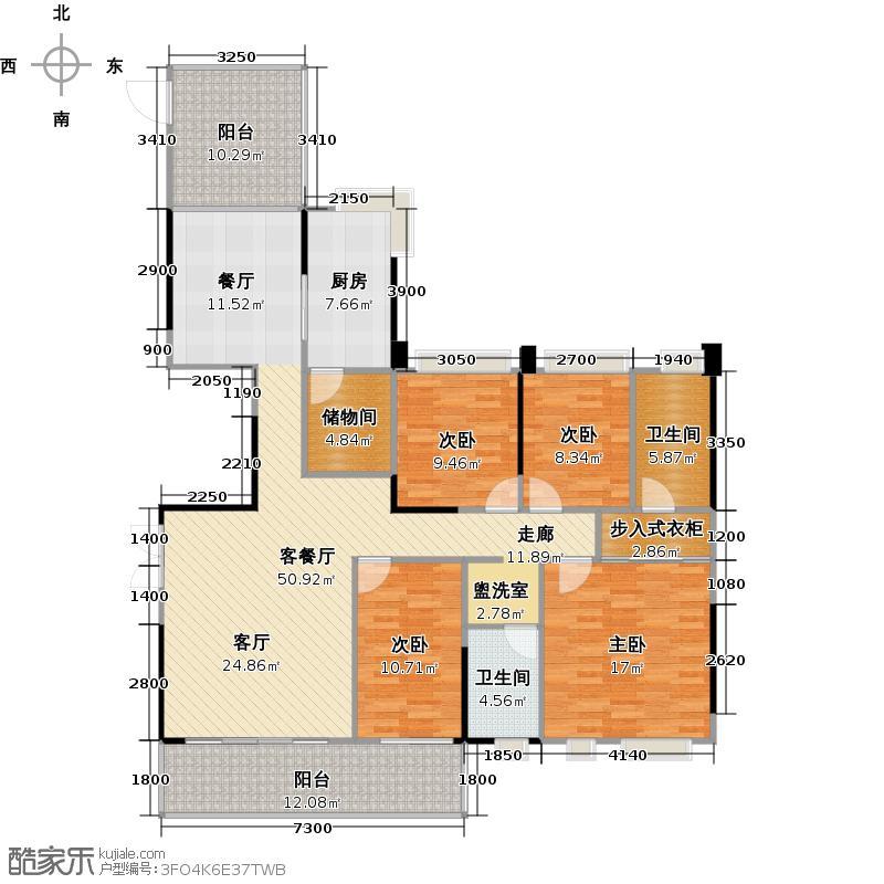 兰江山第5号楼B单元B型户型4室1厅2卫1厨