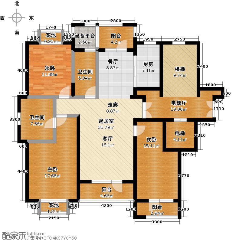 保亿丽景山C户型3室2卫1厨