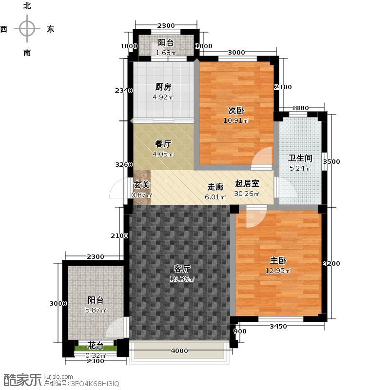 金石城88.00㎡A户型 二室二厅一卫户型2室2厅1卫