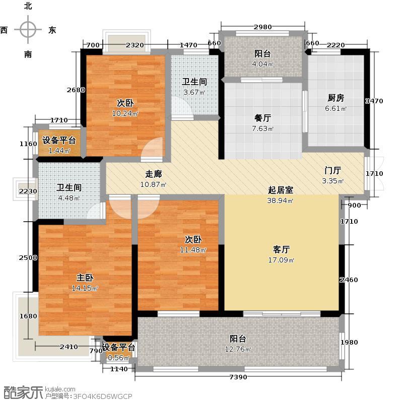 三盛托斯卡纳95#楼户型3室2卫1厨