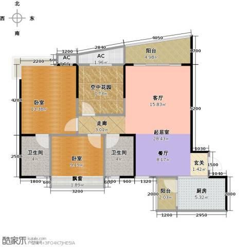 碧桂园・天玺湾2卫1厨98.00㎡户型图