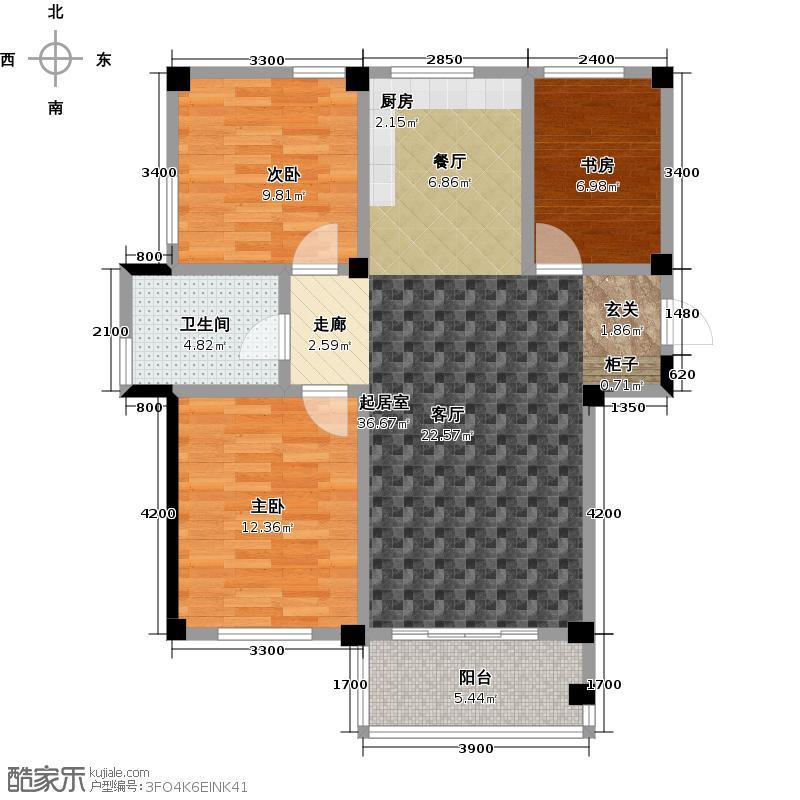 远洋假日养生庄园99.00㎡A-3洋房户型3室2厅1卫