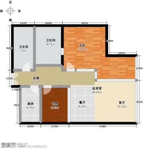 C-PARK西派国际公寓2室0厅2卫1厨147.00㎡户型图