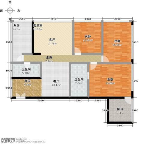 C-PARK西派国际公寓3室0厅2卫1厨200.00㎡户型图
