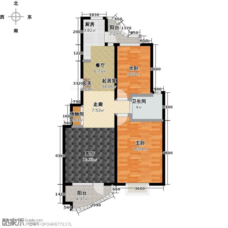 热岛黄金海岸97.28㎡两室两厅户型