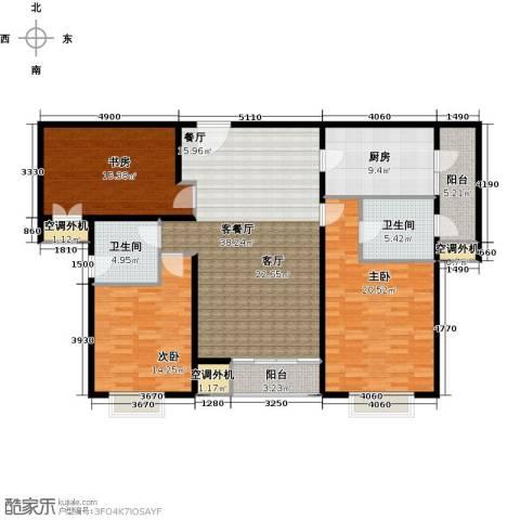 济宁建筑十策3室1厅2卫1厨133.00㎡户型图