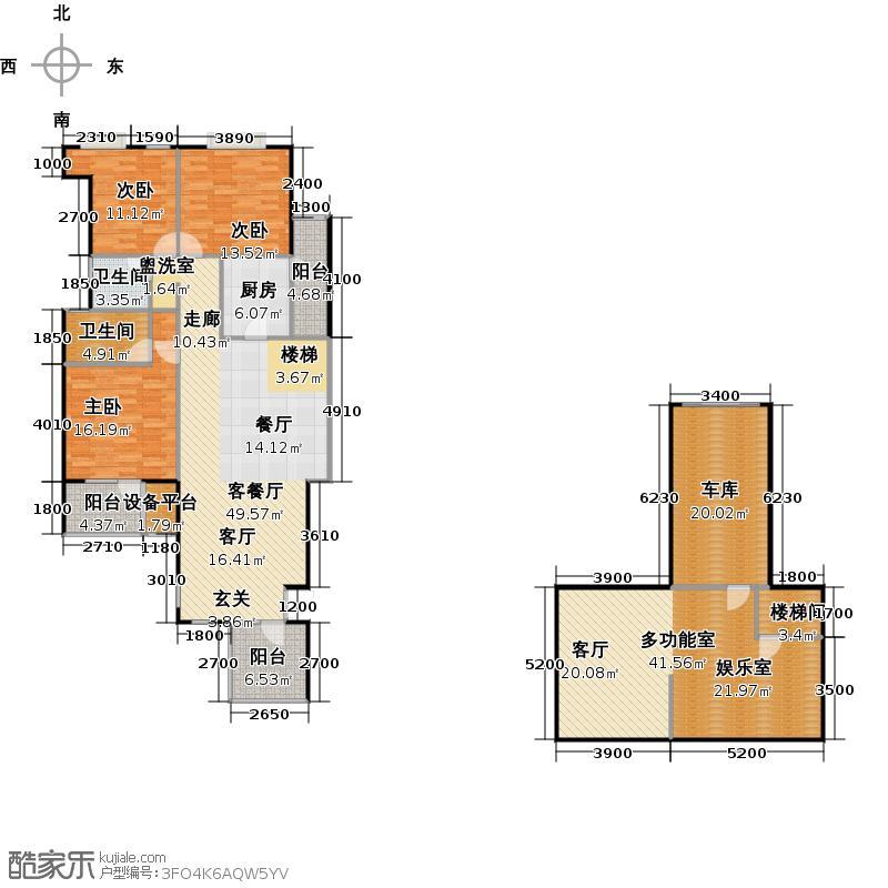 东方欧博城户型3室1厅2卫1厨