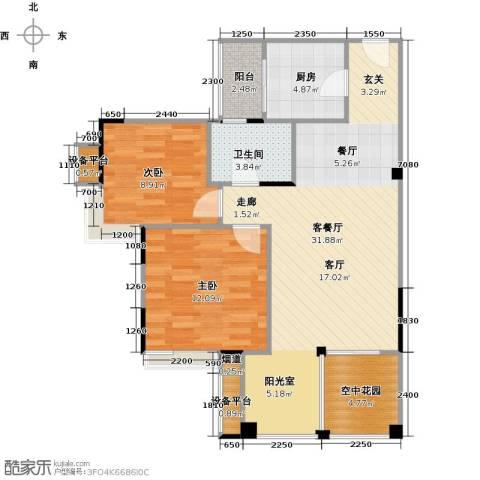 世纪城玫瑰公馆2室1厅1卫1厨96.00㎡户型图