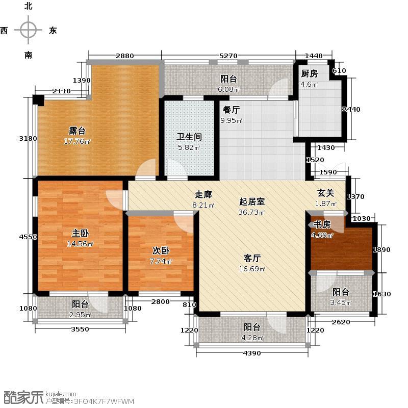 沈铁田园牧歌6层洋房E15层户型3室1卫1厨