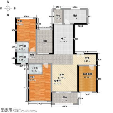 景湖荣郡2室1厅3卫1厨144.00㎡户型图
