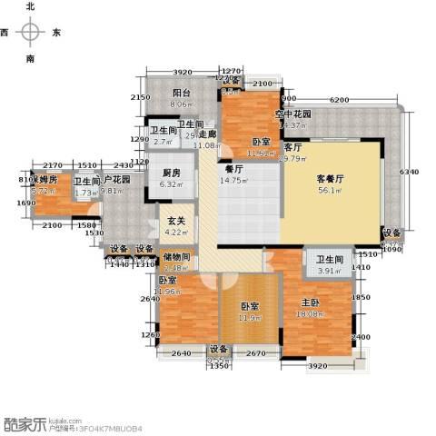 学府港湾1室1厅3卫1厨196.00㎡户型图