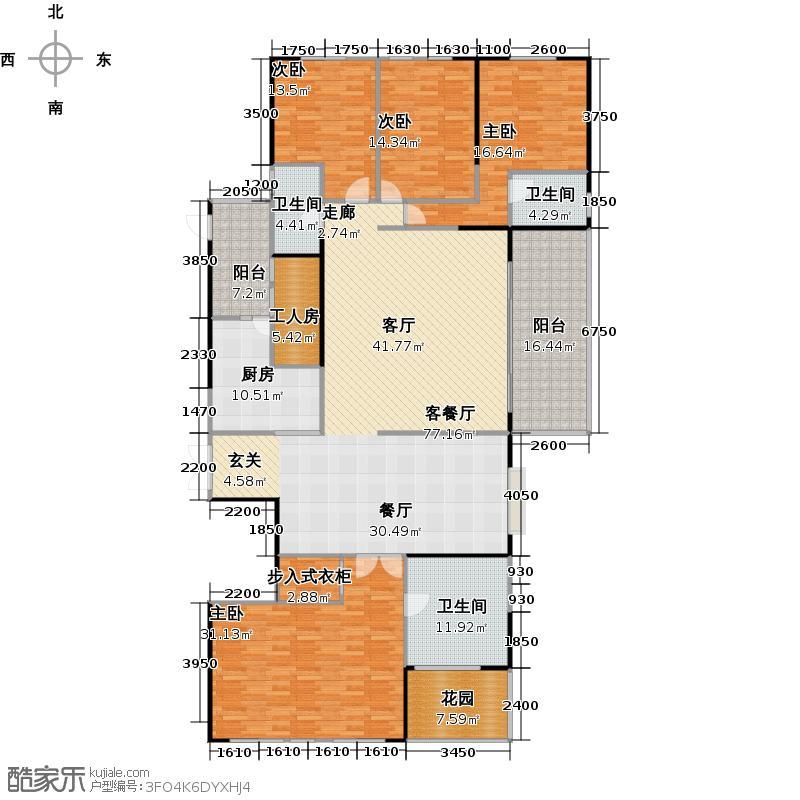 兰江山第9号楼端头E型户型4室1厅3卫1厨