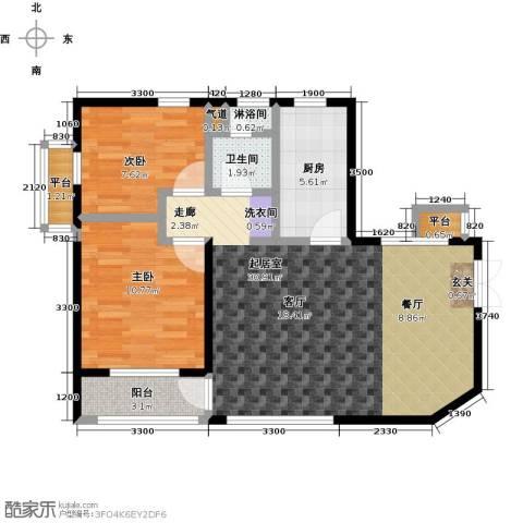 众益万国宫馆2室0厅1卫1厨87.00㎡户型图
