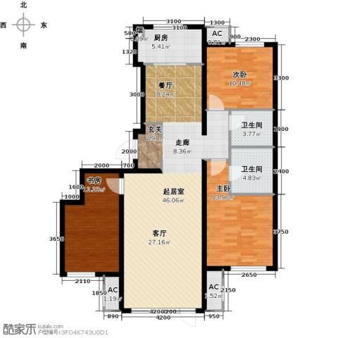 万科温莎堡3室0厅2卫1厨142.00㎡户型图
