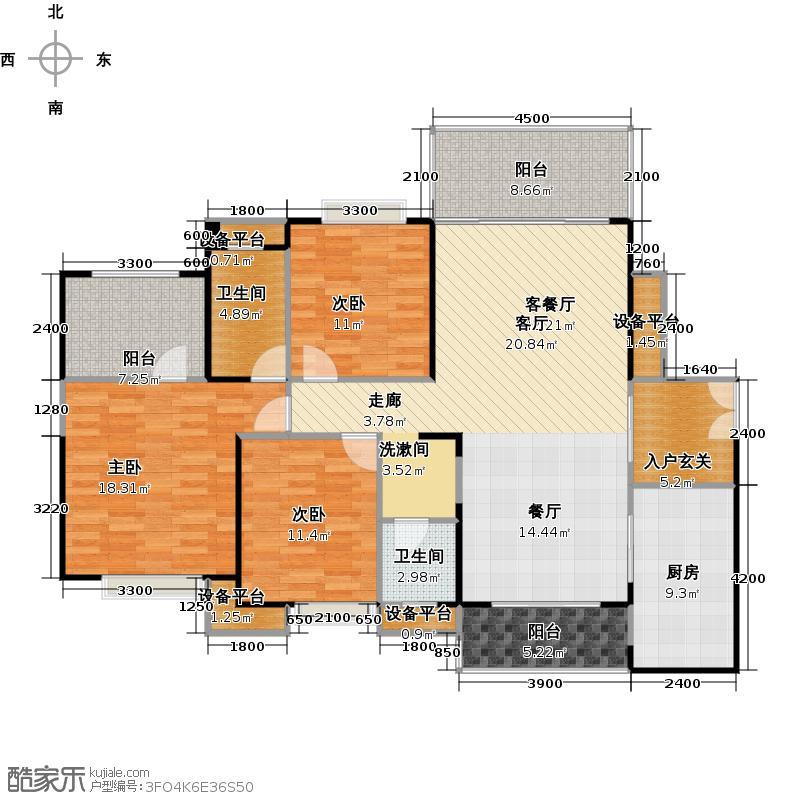 淘金山二期F户型3室1厅2卫1厨