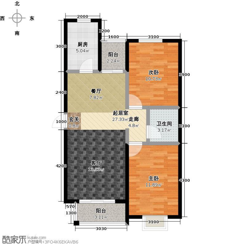 正通滦州一号户型B22室2厅1卫1厨 92.51㎡户型2室2厅1卫