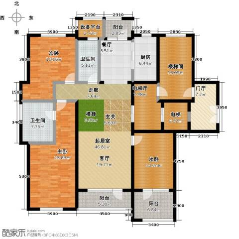 保亿丽景山3室0厅2卫1厨172.00㎡户型图