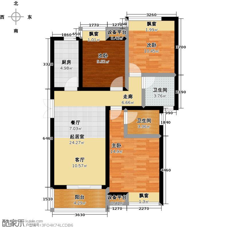 阳光北京城户型3室2卫1厨