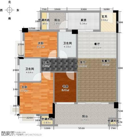 肇庆碧桂园3室1厅2卫1厨105.00㎡户型图