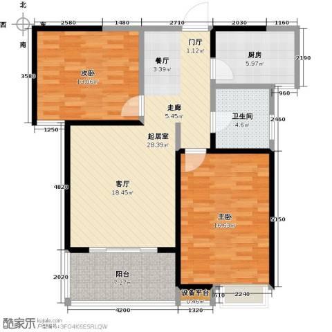 信运现代城2室0厅1卫1厨86.00㎡户型图