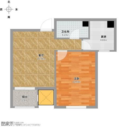 渤海天易园1室1厅1卫1厨58.00㎡户型图
