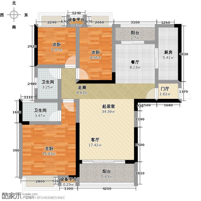 锦绣天伦花园13座2梯05户型3室2卫1厨