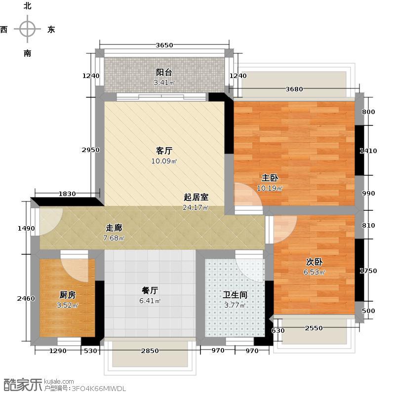 锦绣天伦花园14座01户型2室1卫1厨