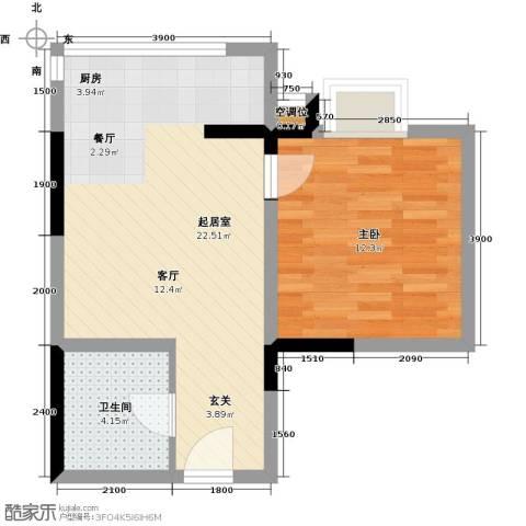 海�印象城1室0厅1卫0厨52.00㎡户型图