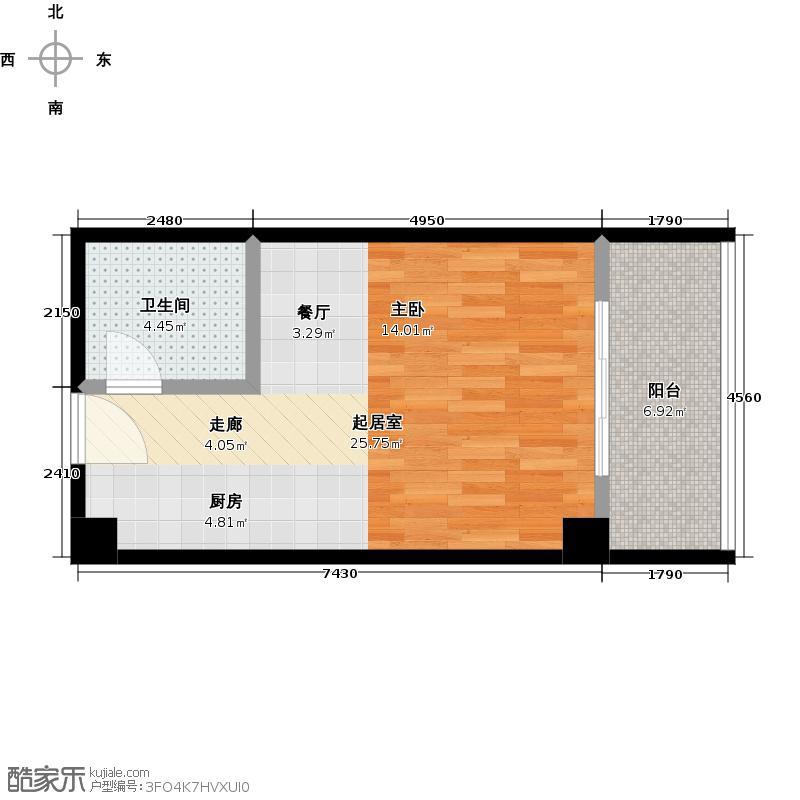 信运现代城42.00㎡G户型1室1厅1卫
