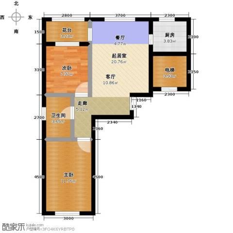 金湾山城2室0厅1卫1厨75.00㎡户型图