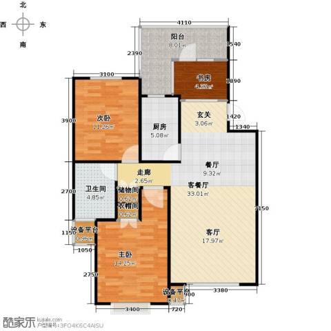 博荣・水立方3室1厅1卫1厨90.48㎡户型图