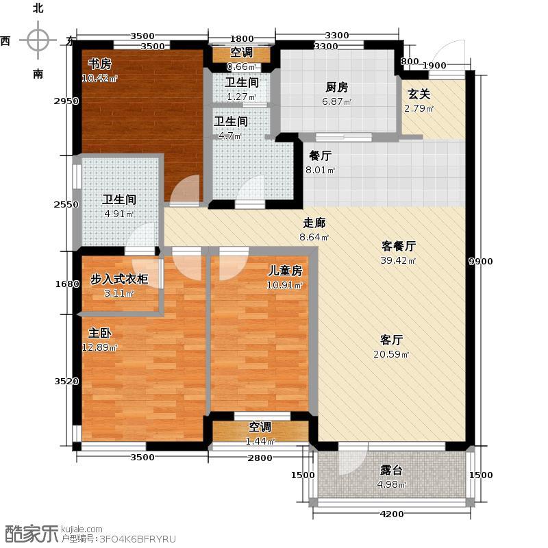 万科公园大道D1户型3室1厅3卫1厨