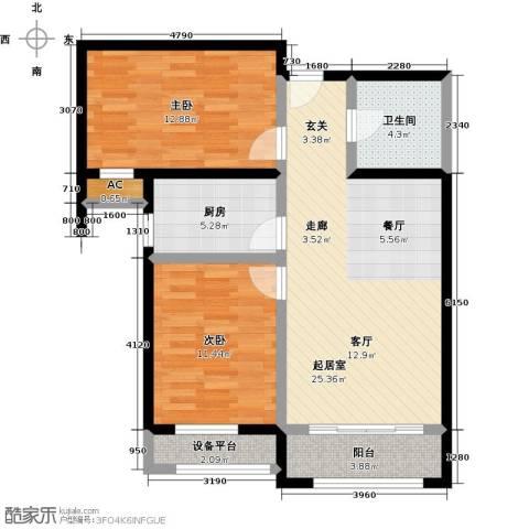 怡水花园三期2室0厅1卫1厨97.00㎡户型图