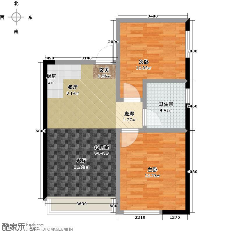万瑞达国际公馆63.63㎡B户型2室1厅1卫