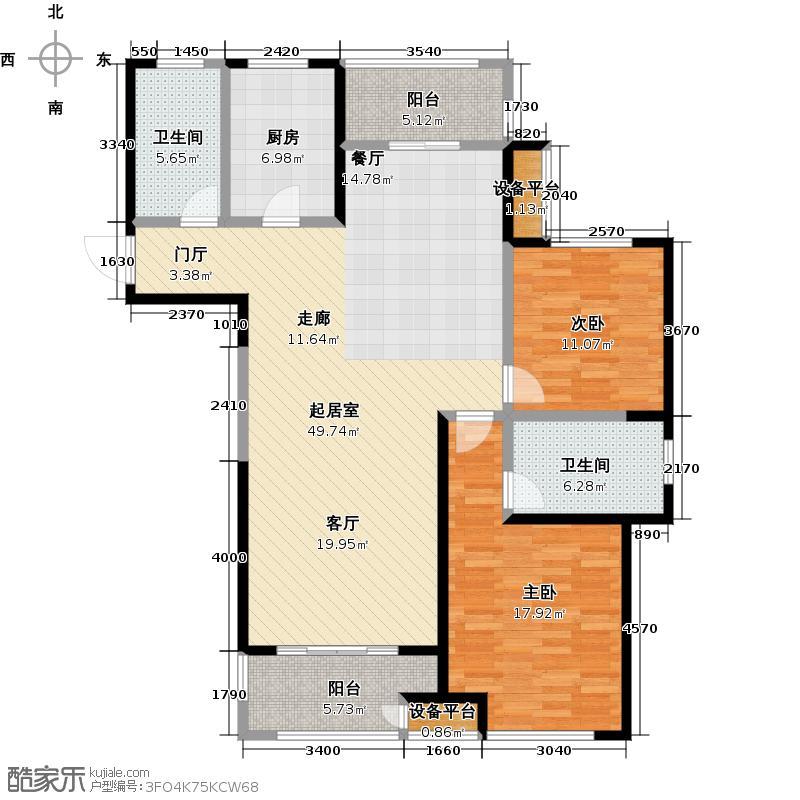苏宁天�御城温馨雅居122.92-124.44平户型2室2厅2卫