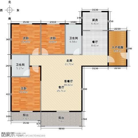 汉武国际城3室1厅2卫1厨141.00㎡户型图
