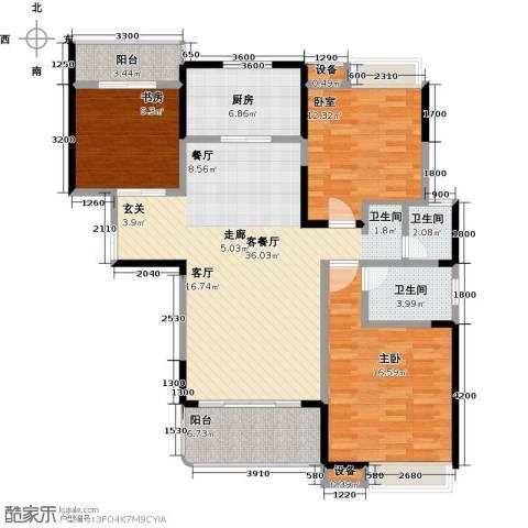 学府港湾2室1厅2卫1厨126.00㎡户型图